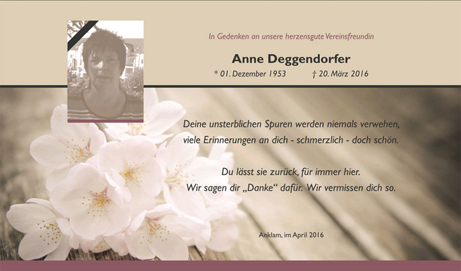 In Gedenken an Anne Deggendorfer